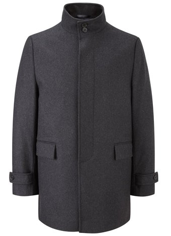 Austin Reed Charcoal Mid Length Funnel Coat REGULAR MENS 48