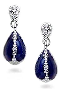 Pricegems Gold Plated Ladies Swarovski Crystal Cobalt Blue Enameled Faberge Style Russian Egg Drop Earrings
