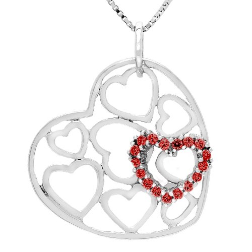 Sterling Silver Lab Created Ruby Heart Pendant Necklace, 18