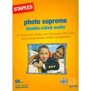 Staples Photo Supreme Double-sided Matte Photo Paper for ALL Inkjet Printers (Double Sided Matte Photo Paper compare prices)