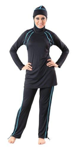 Black Accent Swimsuit, Black, X-Large