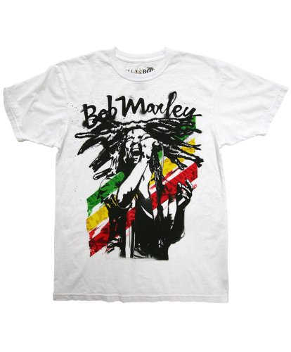 Billabong Men's Bob Marley Rasta Man T-Shirt White MT1BQRAS-WHT-Large