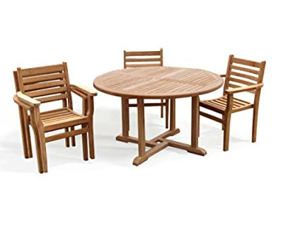 Teak Round Garden Table And 4 Chairs Set - Outdoor Wooden Garden Set With Stacking Chairs - Jati Brand, Quality & Value