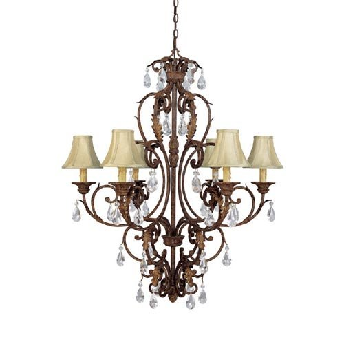 Capital Lighting 3446GU-419-CR 6 Light Seville Chandelier, Gilded