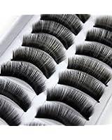 10 paire faux cils volumineux naturel cil noir maquillage yeux eyelashes