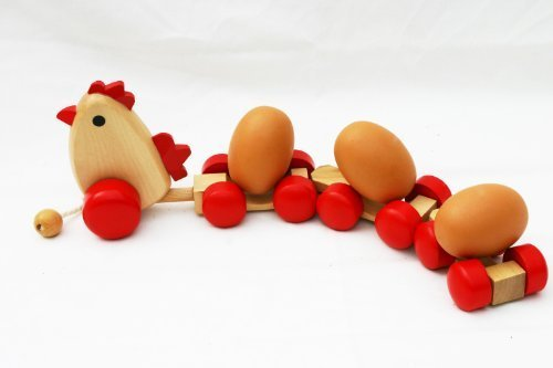 Toys of Wood Oxford Wooden Pull Along Toy Chicken With 3 Eggs - 1