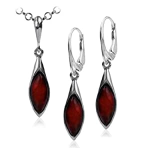 Sterling Silver Red Dark Amber Marquise Leverback Earrings and Necklace Set 18 Inches