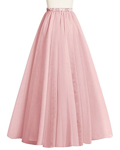 Bridesmay Women's Long Tulle Skirt Maxi Prom Evening Gown Two Way Formal Skirt Blush XS