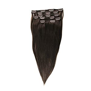 "Crazy Queen 20"" Human Remy Clip in Hair Extensions Dark Brown Color"
