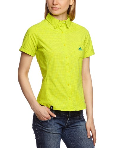 Adidas - Camicia a maniche corte da donna Hiking Trekking Check Shirt, Giallo (s13 giallo vivido), 44
