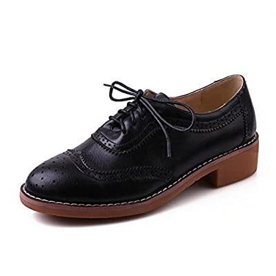 BalaMasa Ladies Lace-Up Round-Toe Cow Leather Pumps-Shoes