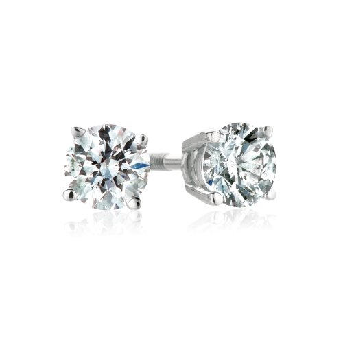 18k White Gold, Round, Diamond 4-Prong Stud Earrings (1/3 cttw, H-I Color, SI1-SI2 Clarity)