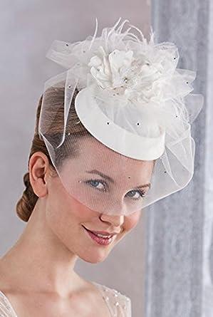 chapeau bibi de mariage avec voilette en tulle pour femme blanc unique v tements. Black Bedroom Furniture Sets. Home Design Ideas