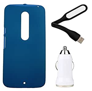 Toppings Hard Case Cover With Car Charger & USB LED Light For Motorola Moto X Style - Skyblue