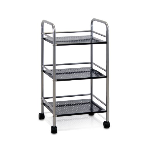 Furinno Fnbj-22082 Xiannan L40 Metal 3-Tray Rolling Cart, Black back-264030