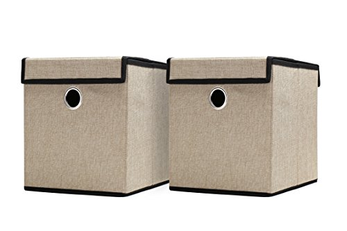 Set of 2 Durable Woven Fabric Foldable Basket, Collapsible Canvas Bins set, Storage Cube with Detachable Lid, Drawer Organizer Box with metal Ring and Cover (Beige)