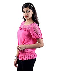 Envy Women's Blended Round Neck Tops (03881PINKNA, Pink, Free Size)