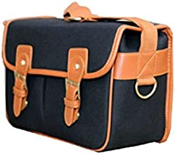 Newstylee Black Large Size Waterproof Vintage Canvas Camera Bag Messenger Bag for DSL RCamera and Le