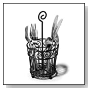 Scroll Silverware Caddy, Black