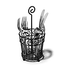 Spectrum 46110 Scroll Silverware Caddy Black