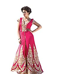 BanoRani Pink Color Faux Georgette Embroidery Full Length Anarkali Gown Style Semi Stitched Dress Material (Pant Style)