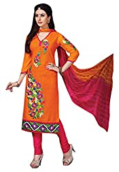 7 Colors Lifestyle Womens Cotton Dress Material (Afadr3205Pmpa -Orange -Free Size)