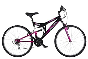 Flite Women's Taser II Dual Suspension Mountain Bike, Black/Cerise