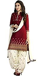 Yashvi Arts Women's Clothing Designer Party Wear Low Price Sale Offer Red & White Color Cotton Embroidered Free Size Salwar Kameez Suit Dress Material