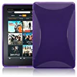AMAZON KINDLE FIRE TPU GEL SKIN CASE - PURPLE, WITH MICROFIBRE CLEANING CLOTH