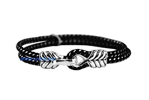 david-yurman-2-row-chevron-sterling-silver-clasp-cord-bracelet-new-box-672