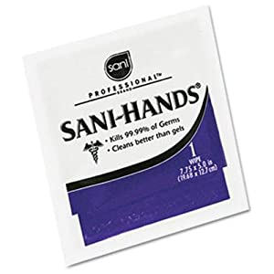 Nice Pak Sani-Professional Sani-Hands II Sanitizing Wipes, 7.75 x 5.0 in, 100 Packets/Box