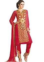 Namrah Collection Women's Georgette Embroidered (404, Red)