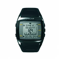 Polar FT60 Mens Heart Rate Monitor Watch (Black with White Display) by Polar