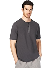 Autograph Henley Neck Piped Pyjama Top with Modal