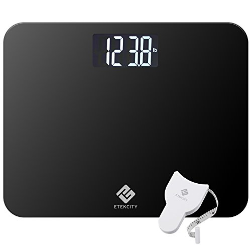 Etekcity 4.3 Inch Ultra Wide Platfrom Digital Body Weight Scale, 440 Pounds, Black