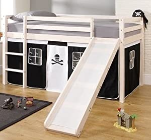 Cabin Bed & Mattress with Slide PIRATE Tent in White       Customer reviews and more description
