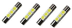 "Cutequeen Trading 4pcs LED Mirror Fuse Sun Visor 6641 Green 30mm(1.23"") 5050 3-SMD 12V Festoon Dome Light LED(pack of 4)"