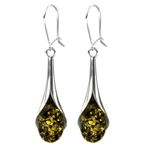 Green Amber Sterling Silver Drops Earrings