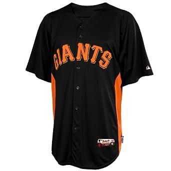 MLB Majestic San Francisco Giants Batting Practice Performance Jersey - Black-Orange by Majestic