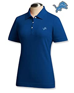 Detroit Lions Ladies Ladies Ace 100% Cotton Polo Tour Blue by Cutter & Buck