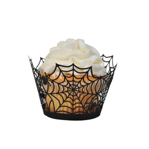 Black Spiderweb Laser Cut Cupcake Wrappers Wraps Liners