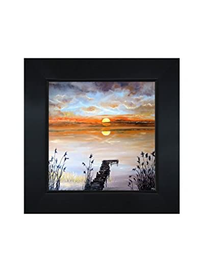 Susan Art Lake In The Evening Framed Canvas Print