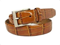 Alexander Julian Mens Croco Embossed Leather Dress Belt, Tan, 40