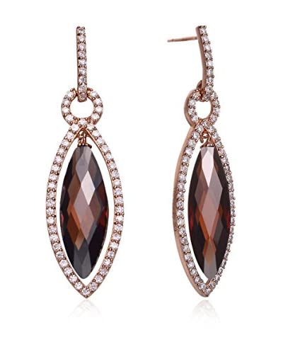 Genevive Jewelry Rose-Plated Coffee CZ Marquise Earrings