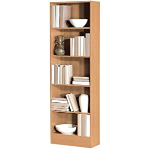 Libreria 5 ripiani regolabili alta mobile studio legno for Libreria amazon