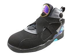 Nike Jordan Kids Jordan 8 Retro BP Black/Tr Rd/Flnt Gry/Brght Cncrd Basketball Shoe 11 Kids US