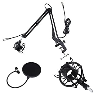 """Broadcasting Studio Microphone Arm stand with Shock Mount + 6"""" Dual Mic Pop Filter"""