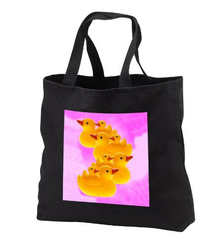 Rubber Duck - Ducks On Pink - Tote Bags - Black Tote Bag 14W X 14H X 3D front-1073087