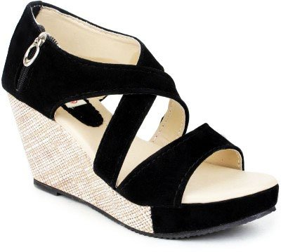 Wedges Heel Black Cross Sandal With ZIp