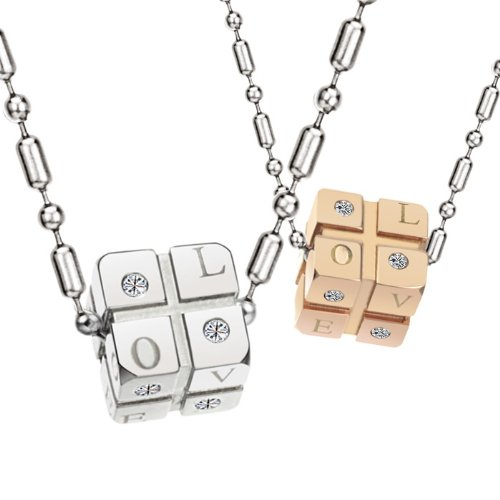 Opk Jewellery Fashion Stainless Steel Necklace Square Drop Love Signal Engraved Gold Plated For Couple Pendants Jewelry